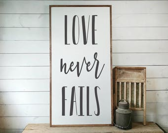 Love Never Fails Sign, FREE SHIPPING, Wedding Gift, Love Sign, Love Gift, Newlywed Gift, Wedding Sign, Housewarming Gift, Wooden Sign PS1066