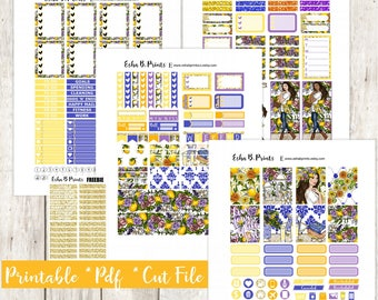 Citrus Garden Light Printable Planner Stickers/Weekly Kit/For Use with Erin Condren/Cutfile Fall September Floral Lemonade Glam Lemonade