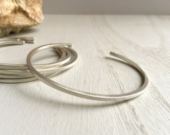 SET OF 3 Brushed sterling silver cuff bracelets, Thin silver cuff bracelet set, Silver stackable cuffs, Stacker cuffs