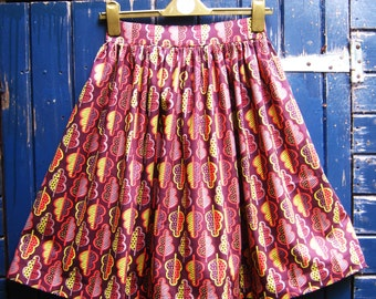 Gathered full skirt, oak leaf vintage fifties style , autumn, fall colours, quirky, handmade, unique