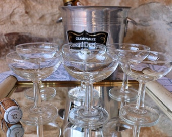 Set of 6 French Vintage champagne coupes. French vintage champagne glasses.  French Vintage Cafe Bar Chic