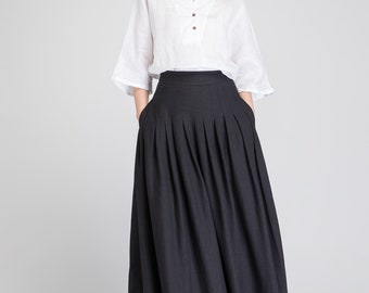 Black skirt, black linen skirt, linen skirt, long linen skirt, pleated skirt, high waisted skirt, skirt with pockets, summer skirt 1890
