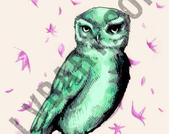 Green Owl Fine Art Print