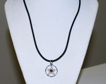 Red Silver Black Arcana Witchy Pewter Pendant Necklace Witchcraft