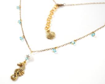 Siren's Song Necklace - Made with Swarovski Elements Ocean Wedding Bridal Bridesmaid Seashell Starfish Beach Pearl Summer