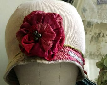 Vanilla Cream Cloche Hat Featuring Large Blue Red Rose
