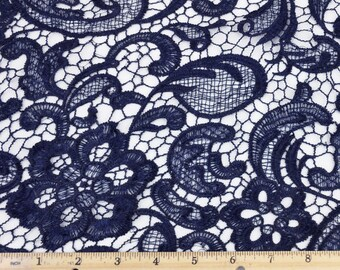 Venice Embroidered Navy Lace Fabric for Wedding Lace Bridal Elegant Dress French Guipure Lace by the yard- 1 Yard Style 5001