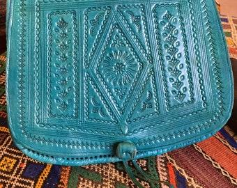 Turquoise Leather Bag, Moroccan Leather Bag, Handtooled Leather Bag, Cross Body Leather Bag, Handmade Brown Shoulder Handbag, Boho Bg