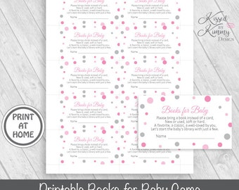 70% OFF - Books for Baby Game - Baby Shower Games - Bring a book instead of a card - Printable - 5x7 - Pink Gray - P-22