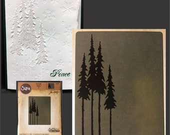 Tall Pines embossing folder by Tim Holtz Sizzix embossing folders for handmade cards & Scrapbook pages