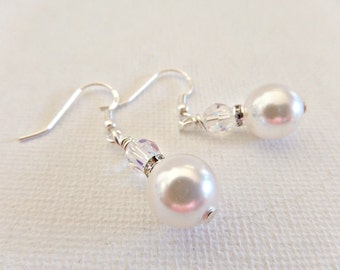 Pearl earrings, White pearl earrings, Cream pearl earrings, Bridal  pearl earrings, Crystal earrings, Prom pearl earrings, UK seller