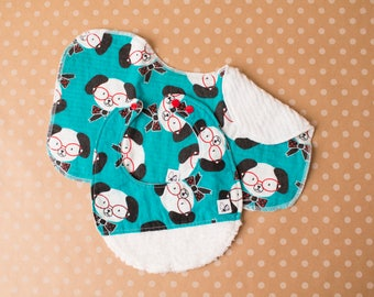 Dogs Puppies Animals Hipster Blue Polka dot Bows Baby girl Newborn Baby gift set New parent Bib Burp cloth Flannel Chenille Little Tommys
