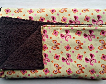Pink and Yellow Butterfly Flannel and Brown Fluffy Fleece Baby Girl Blanket