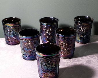 Carnival Glass Six (6) Tumblers Purple Imperial Reissued Fieldflower Gorgeous