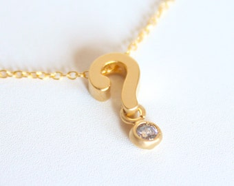3D Question Mark ? Necklace - 18k Gold and Crystal Charm Necklace