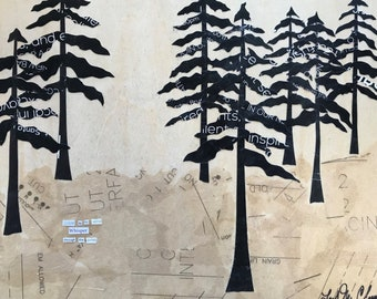 Listen to the Wind Whisper Through the Pines - original art - original paper collage