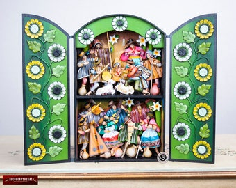 "Peru Large retablo folk art sculpture ""Christmas Fiesta""- Wood Peruvian Retablos - Collectible Peruvian Ornaments - Wood Multicolor Diorama"