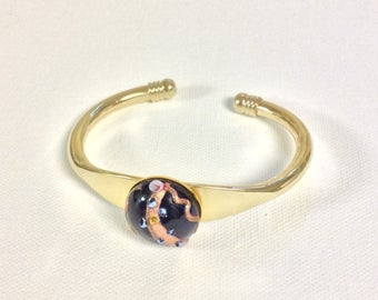 Cobalt blue vintage wedding cake stone of Murano glass on a gold plated cuff bracelet