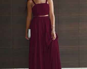 Women's Clothing Set, Crop Top & Maxi Skirt, Burgundy Top, Burgundy Skirt, Bridesmaid Skirt, Bridesmaid Top, High Waist Skirt, Crop Top Set