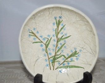 Catch-all Bowl / Mill Brook Kiln / Vermont / Frost Flower / round / white / pottery / blue flowers / hand made / catch-all dish / flowers