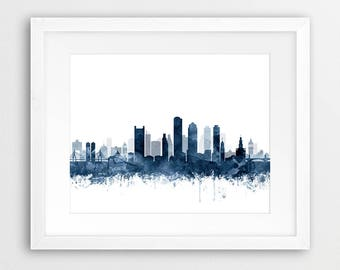 Boston Print, Boston City Skyline, Boston Wall Art, Navy Blue White  Watercolor Cityscape