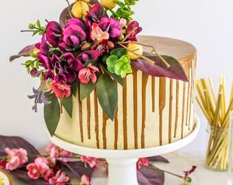 Purple Floral Topper- Cake topper, prop cake, party decor