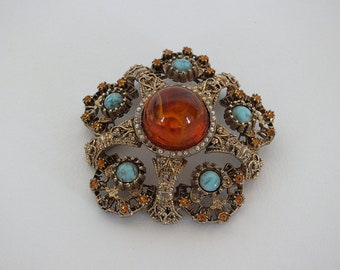 Large Sized Cabochon Pin Brooch,Stunning.