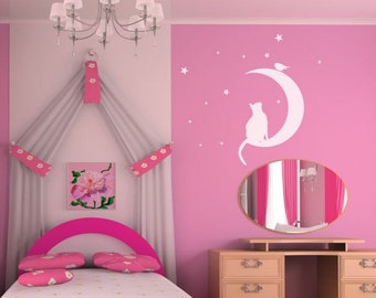 Wall sticker CAT on the MOON,kids room decal,nursery decal,children wall decals, vinyl decal,vinyl stickers, baby decals, decals for girls