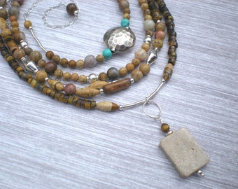 Painted desert trio, beaded necklaces, tiger eye, picture jasper, fossil coral, sterling silver, unique jewelry by Grey Girl Designs on Etsy