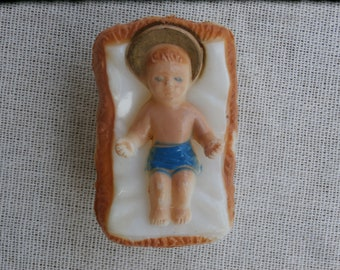 Baby Jesus in Manger Vintage for a Nativity Set Hard Plastic 2 inches long Removable Figure