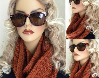 Burnt Orange Infinity Scarf Hand Crocheted in  Fall Winter Womens Accessories holiday gift ready to ship