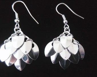 Silver Scale Maille Earrings