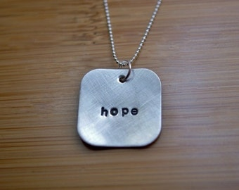 sterling silver hope necklace -  hope necklace - inspiring necklace - inspiring hope - sterling silver necklace - handstamped faith necklace