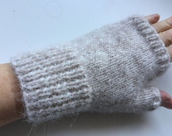 Supersoft, delicately coloured, alpaca, hand knitted fingerless gloves / mitts - size S/M