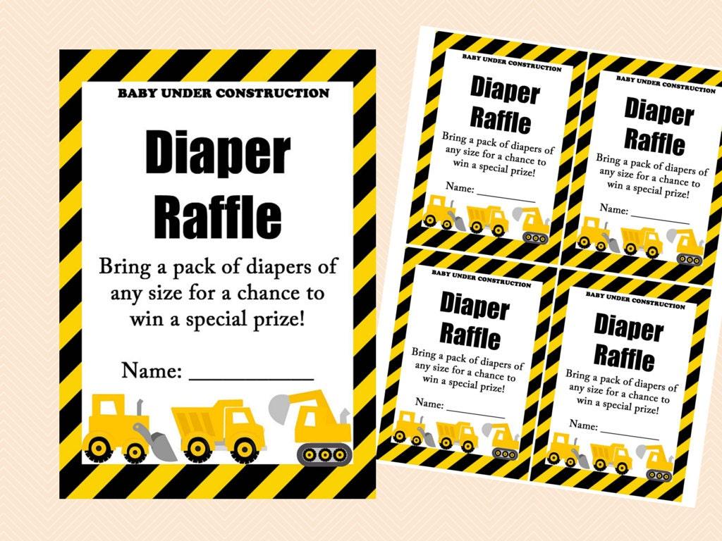 Diaper Raffle Ticket Diaper Raffle Card Diaper Raffle