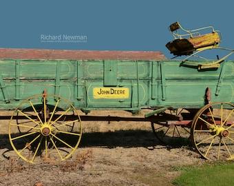 Old John Deere Wagon, Farm Equipment, Americana art, Old green wagon, Rustic, Transportation, 12 x 18 photograph