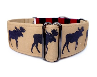 Moose Lodge Martingale Dog Collar or Buckle Collar, Red and Black Buffalo Plaid Collar in 1 inch or 1.5 inch width