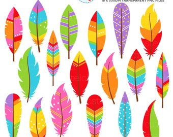 Rainbow Patterned Feathers Clipart Set - clip art set of feathers, tribal, rainbow - personal use, small commercial use, instant download