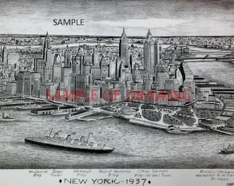 New York City 1937 Print