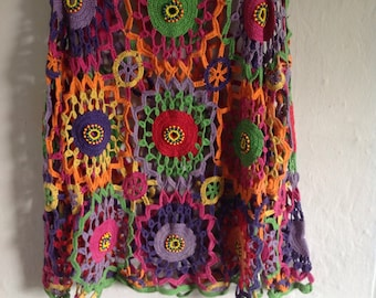 1970s crochet jumper multi coloured