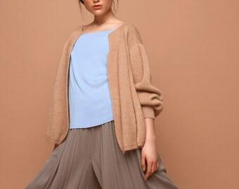 knit bomber jacket, caramel, merino wool, silk, mohair  SABRINA WEIGT, knitwear, knitted bomber jacket,beige jacket , cardigan,bomber jacket