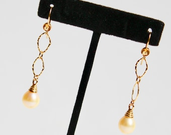 Golden pearl earrings with vermeil gold citrines and oblong hammered gold design