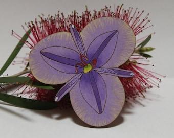 Statement Brooch, Lapel Pin, Fringe Lily, Men's Accessories, Australian Flower, Australian Brooch, Flower Jewellery, Wood Brooch, Eco Gift
