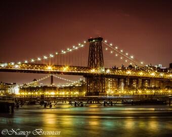 Williamsburg abd Brooklyn Bridges at Night
