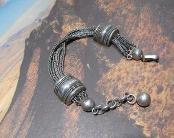 Vintage Antique Silver foxtail multi link Kamari Bracelet with Orb fob 950 Silver 9f46