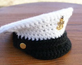 FREE Pattern, 0-3, Military Hat, Crochet Pattern, Military Dress Hat, Dress Cap, Dress Whites, PDF, Baby Militay Hat, Photo Prop, Police Hat