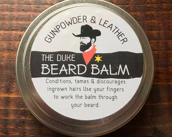 The Duke Handmade Beard Balm Conditioner Tamer 3oz. Tin Gunpowder & Leather