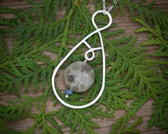 Petoskey Stone Jewelry, Michigan Jewelry, Leland Blue Jewelry, Michigan necklace, Petoskey Stone pendant, Petoskey stone necklace, Leland