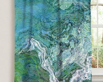 "Abstract art window curtain in blue and green, 50""x84"" blackout drapery panel, contemporary rod pocket curtain, living room decor, Rising"