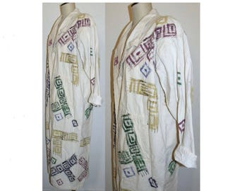 1980's 90s Long Cotton Coat / Hand Painted Oversized Duster OOAK Art to Wear / 1990s 80s / Vintage one size